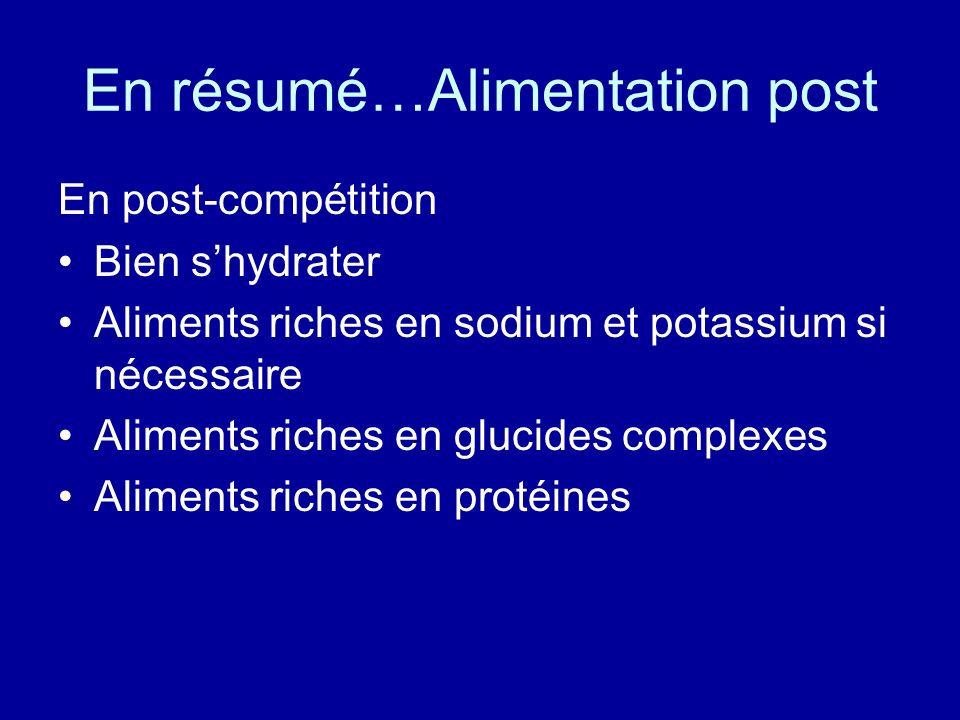 En résumé…Alimentation post En post-compétition Bien shydrater Aliments riches en sodium et potassium si nécessaire Aliments riches en glucides comple