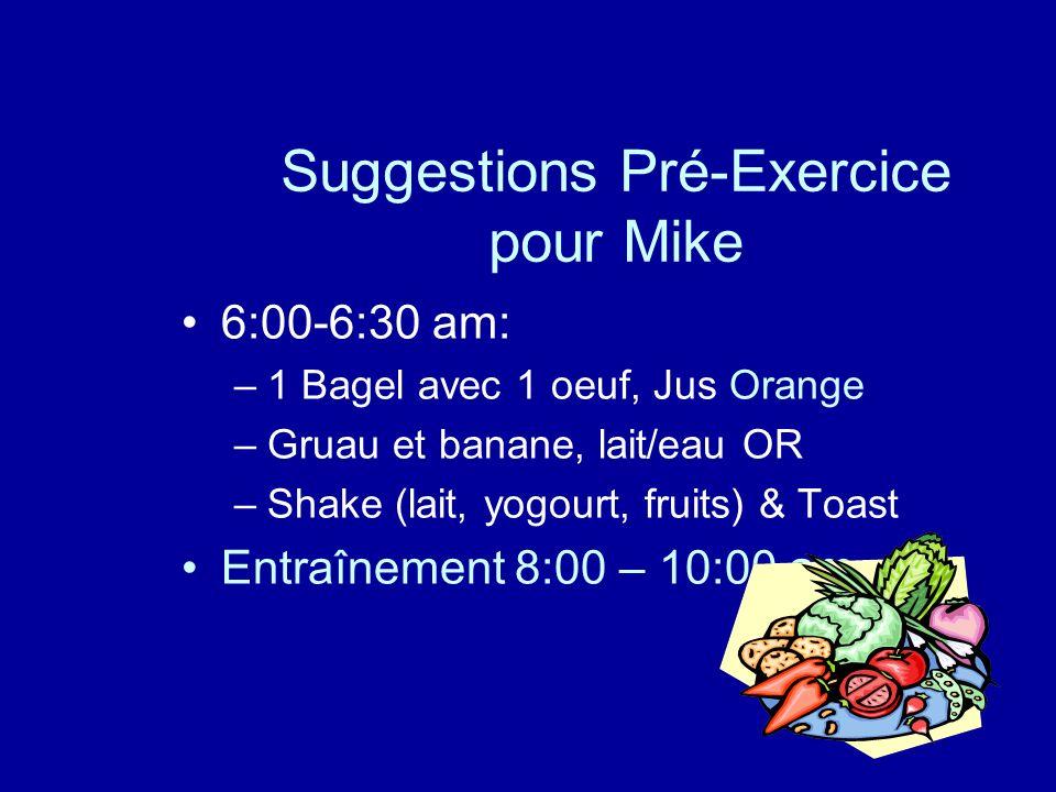 Suggestions Pré-Exercice pour Mike 6:00-6:30 am: –1 Bagel avec 1 oeuf, Jus Orange –Gruau et banane, lait/eau OR –Shake (lait, yogourt, fruits) & Toast