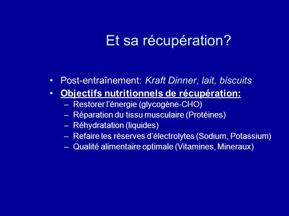 Et sa récupération? Post-entraînement: Kraft Dinner, lait, biscuits Objectifs nutritionnels de récupération: –Restorer lénergie (glycogène-CHO) –Répar