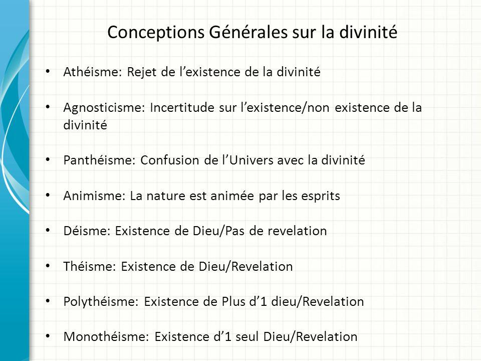 Conceptions Générales sur la divinité Athéisme: Rejet de lexistence de la divinité Agnosticisme: Incertitude sur lexistence/non existence de la divini