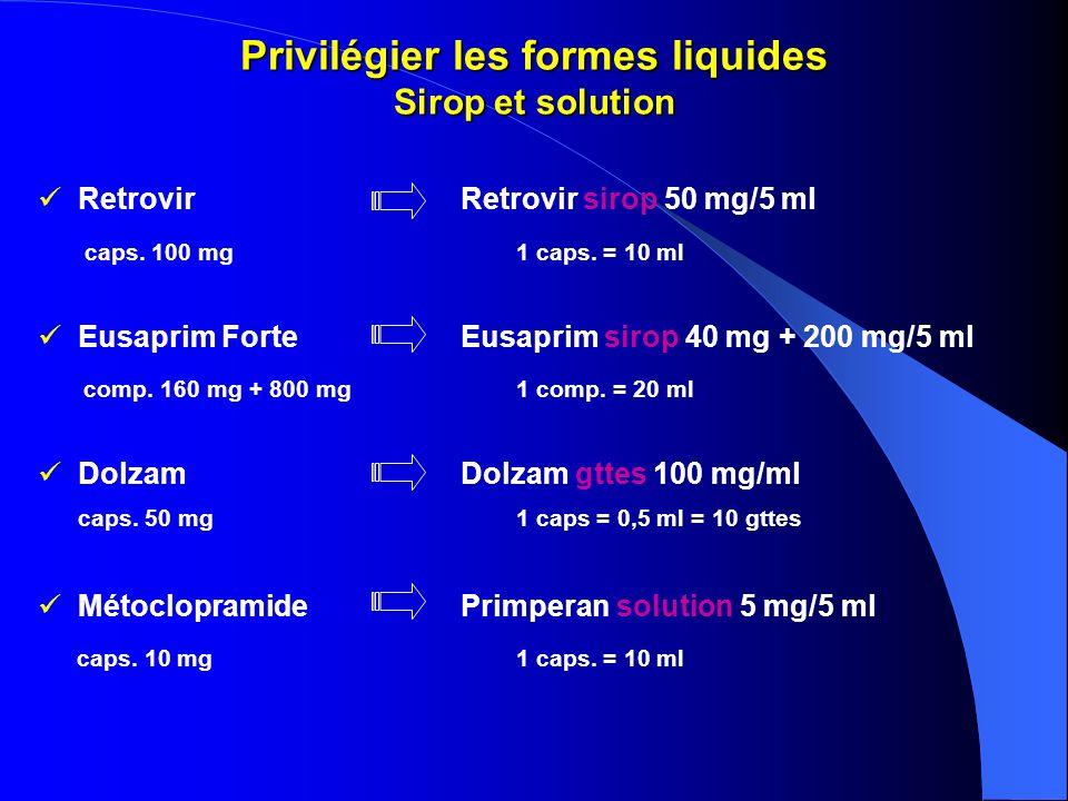 Privilégier les formes liquides Sirop et solution RetrovirRetrovir sirop 50 mg/5 ml caps. 100 mg1 caps. = 10 ml Eusaprim ForteEusaprim sirop 40 mg + 2