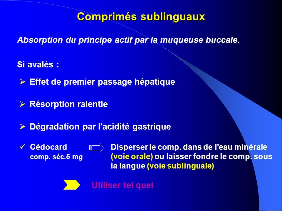 Comprimés sublinguaux Effet de premier passage hépatique Résorption ralentie Dégradation par l'acidité gastrique Absorption du principe actif par la m