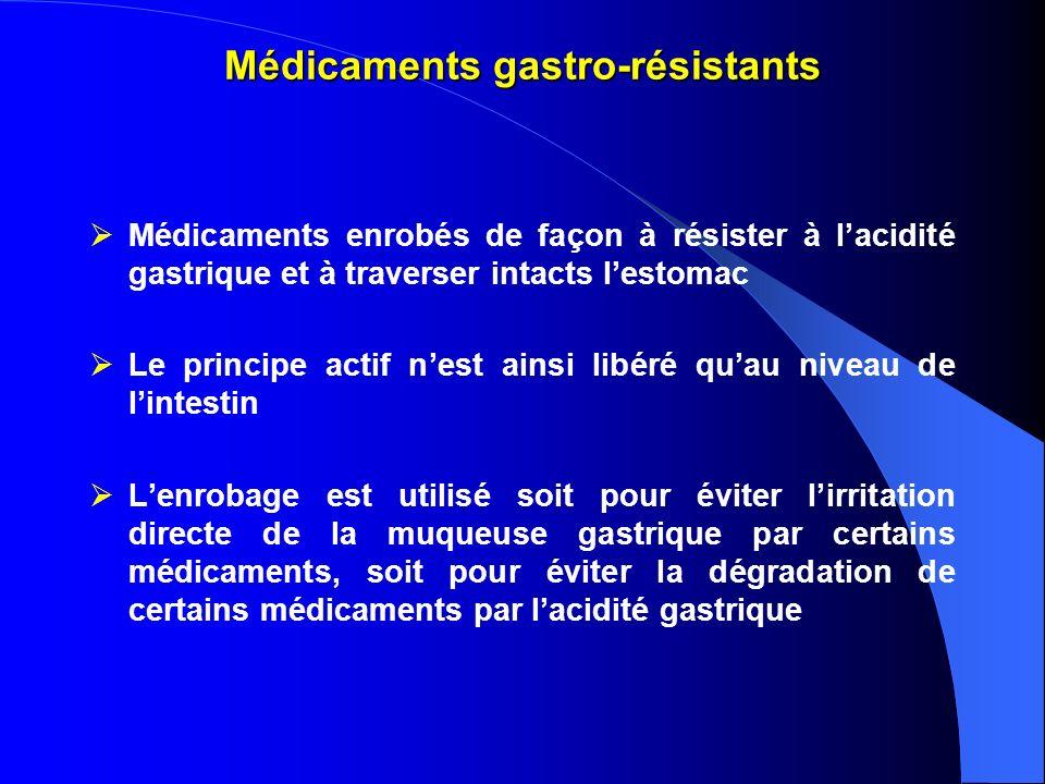 Médicaments gastro-résistants Médicaments enrobés de façon à résister à lacidité gastrique et à traverser intacts lestomac Le principe actif nest ains