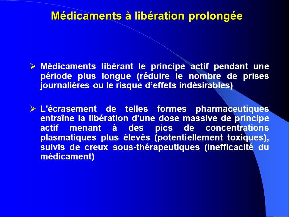 Médicaments à libération prolongée Médicaments libérant le principe actif pendant une période plus longue (réduire le nombre de prises journalières ou