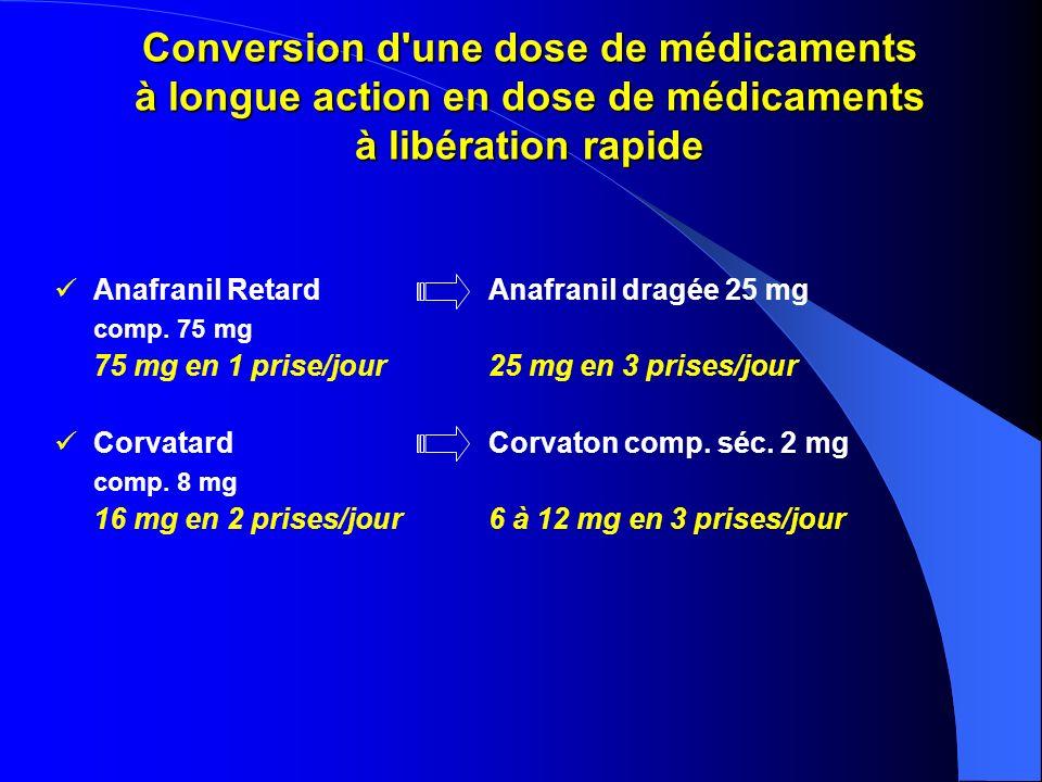 Conversion d'une dose de médicaments à longue action en dose de médicaments à libération rapide Anafranil RetardAnafranil dragée 25 mg comp. 75 mg 75