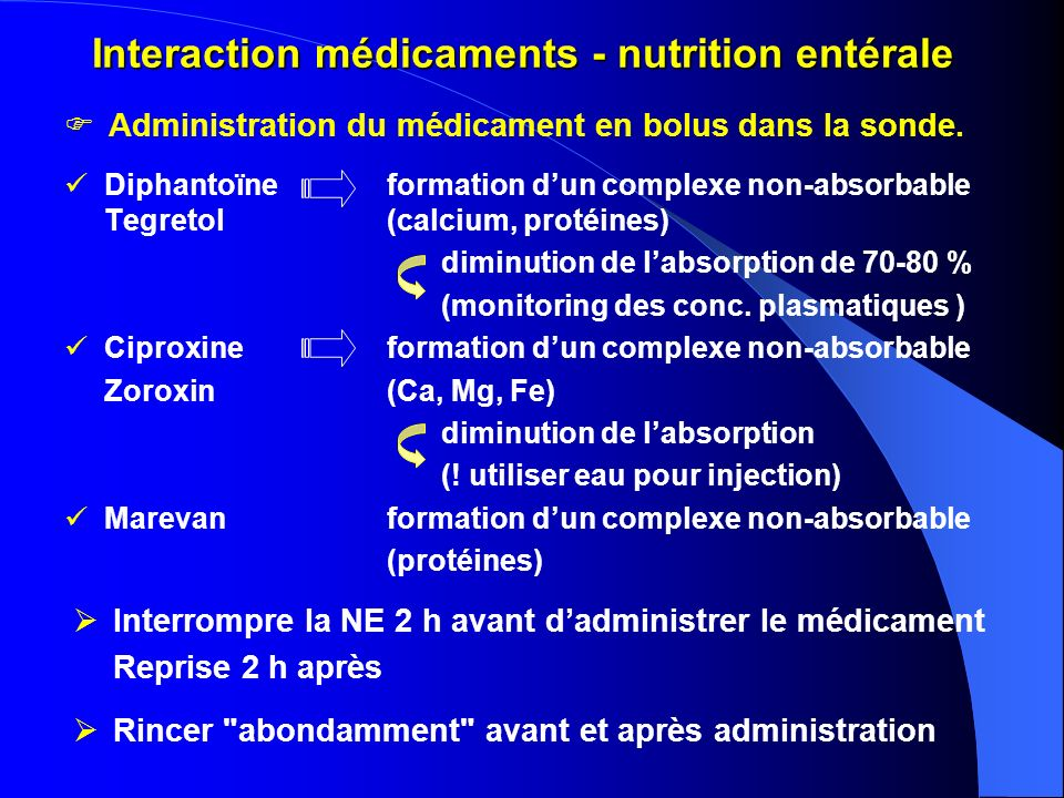 Interaction médicaments - nutrition entérale Diphantoïneformation dun complexe non-absorbable Tegretol(calcium, protéines) diminution de labsorption de 70-80 % (monitoring des conc.