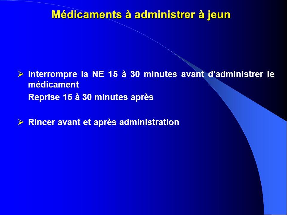 Médicaments à administrer à jeun Interrompre la NE 15 à 30 minutes avant d'administrer le médicament Reprise 15 à 30 minutes après Rincer avant et apr