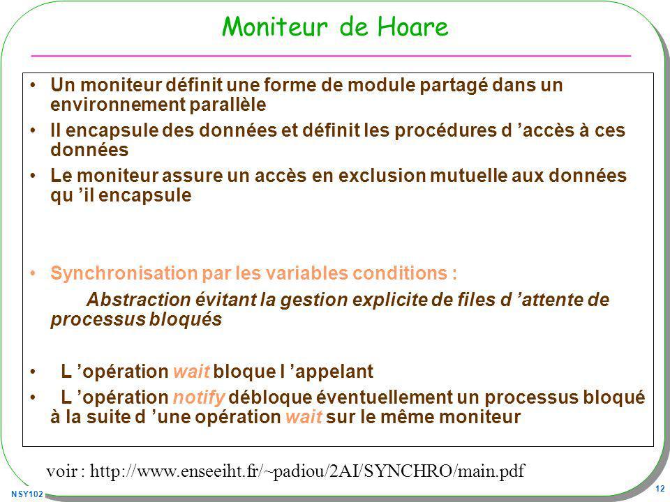 NSY102 12 Moniteur de Hoare Un moniteur définit une forme de module partagé dans un environnement parallèle Il encapsule des données et définit les pr