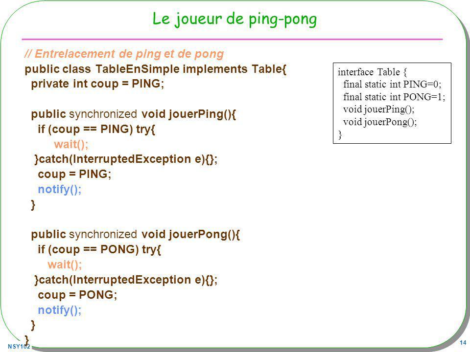 NSY102 14 Le joueur de ping-pong // Entrelacement de ping et de pong public class TableEnSimple implements Table{ private int coup = PING; public synchronized void jouerPing(){ if (coup == PING) try{ wait(); }catch(InterruptedException e){}; coup = PING; notify(); } public synchronized void jouerPong(){ if (coup == PONG) try{ wait(); }catch(InterruptedException e){}; coup = PONG; notify(); } interface Table { final static int PING=0; final static int PONG=1; void jouerPing(); void jouerPong(); }