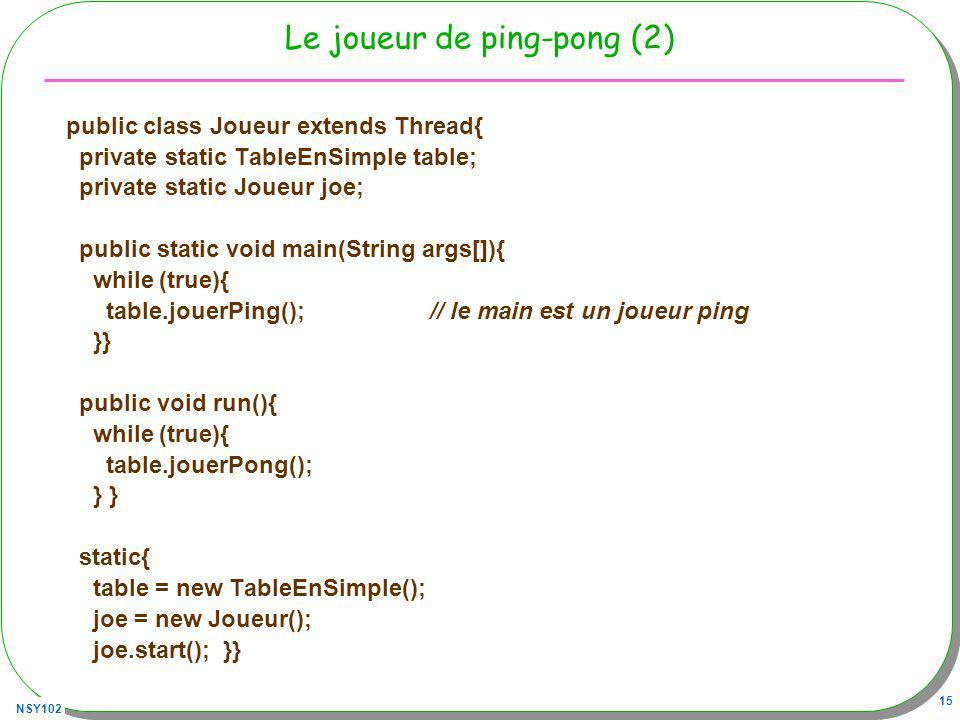 NSY102 15 Le joueur de ping-pong (2) public class Joueur extends Thread{ private static TableEnSimple table; private static Joueur joe; public static void main(String args[]){ while (true){ table.jouerPing(); // le main est un joueur ping }} public void run(){ while (true){ table.jouerPong(); } } static{ table = new TableEnSimple(); joe = new Joueur(); joe.start(); }}