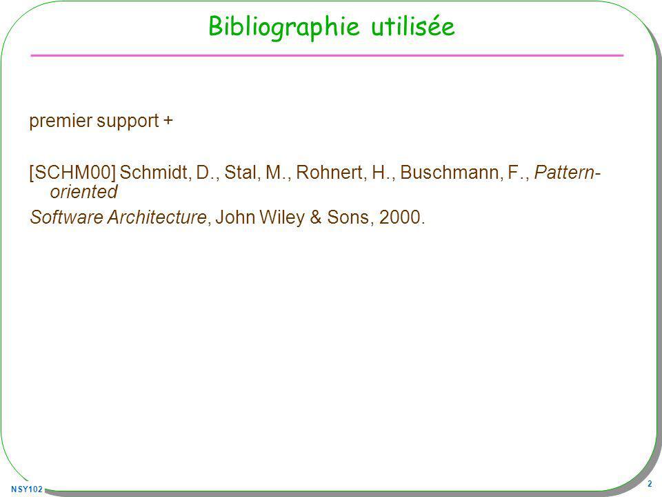 NSY102 2 Bibliographie utilisée premier support + [SCHM00] Schmidt, D., Stal, M., Rohnert, H., Buschmann, F., Pattern- oriented Software Architecture,