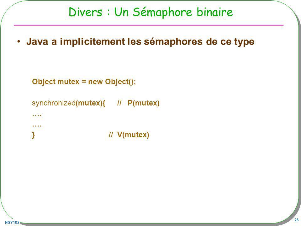 NSY102 26 Divers : Un Sémaphore binaire Java a implicitement les sémaphores de ce type Object mutex = new Object(); synchronized(mutex){ // P(mutex) ….