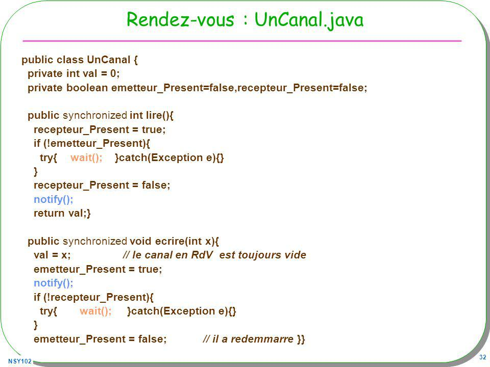 NSY102 32 Rendez-vous : UnCanal.java public class UnCanal { private int val = 0; private boolean emetteur_Present=false,recepteur_Present=false; publi