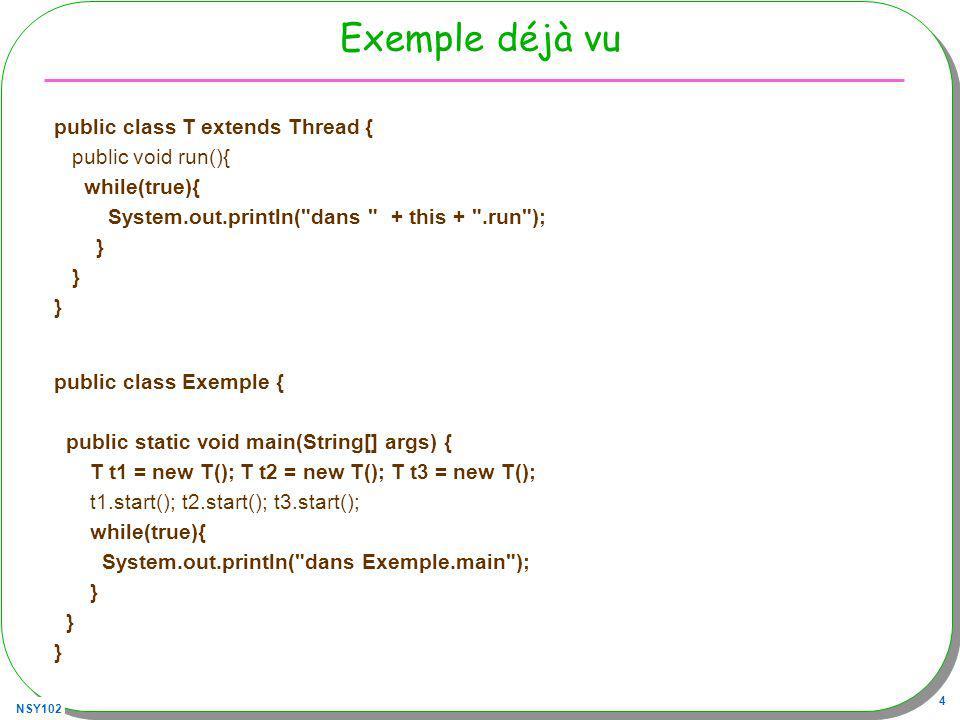 NSY102 4 Exemple déjà vu public class T extends Thread { public void run(){ while(true){ System.out.println( dans + this + .run ); } public class Exemple { public static void main(String[] args) { T t1 = new T(); T t2 = new T(); T t3 = new T(); t1.start(); t2.start(); t3.start(); while(true){ System.out.println( dans Exemple.main ); }