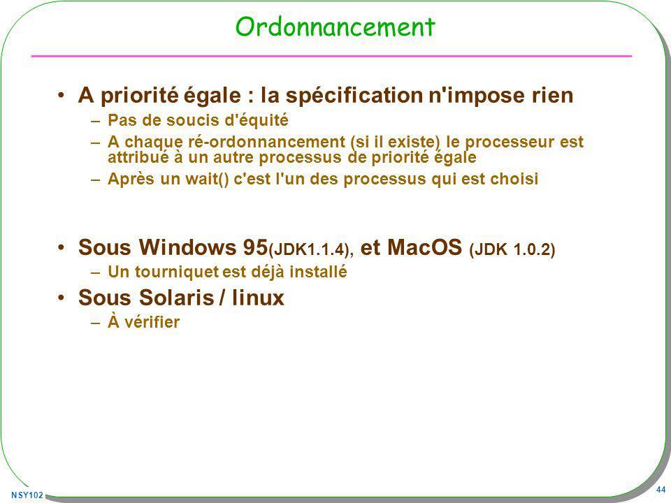 NSY102 44 Ordonnancement A priorité égale : la spécification n impose rien –Pas de soucis d équité –A chaque ré-ordonnancement (si il existe) le processeur est attribué à un autre processus de priorité égale –Après un wait() c est l un des processus qui est choisi Sous Windows 95 (JDK1.1.4), et MacOS (JDK 1.0.2) –Un tourniquet est déjà installé Sous Solaris / linux –À vérifier