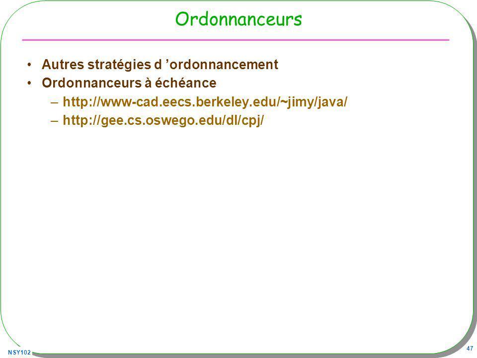 NSY102 47 Ordonnanceurs Autres stratégies d ordonnancement Ordonnanceurs à échéance –http://www-cad.eecs.berkeley.edu/~jimy/java/ –http://gee.cs.osweg