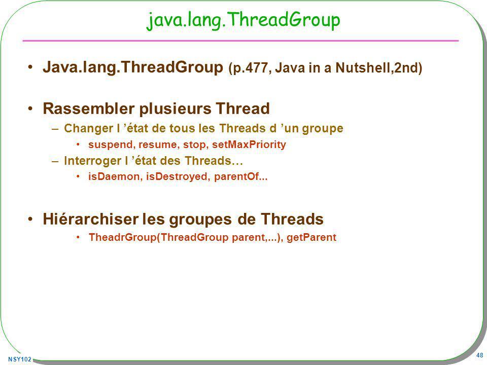 NSY102 48 java.lang.ThreadGroup Java.lang.ThreadGroup (p.477, Java in a Nutshell,2nd) Rassembler plusieurs Thread –Changer l état de tous les Threads d un groupe suspend, resume, stop, setMaxPriority –Interroger l état des Threads… isDaemon, isDestroyed, parentOf...