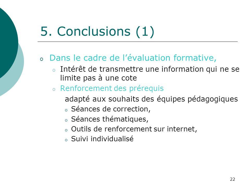 22 5. Conclusions (1) o Dans le cadre de lévaluation formative, o Intérêt de transmettre une information qui ne se limite pas à une cote o Renforcemen