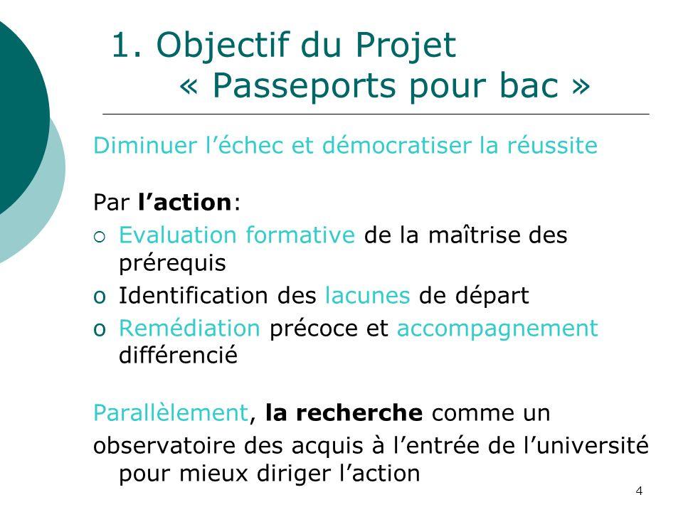 4 1. Objectif du Projet « Passeports pour bac » Diminuer léchec et démocratiser la réussite Par laction: Evaluation formative de la maîtrise des prére