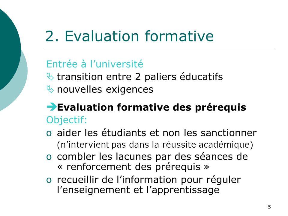 5 2. Evaluation formative Entrée à luniversité transition entre 2 paliers éducatifs nouvelles exigences Evaluation formative des prérequis Objectif: o