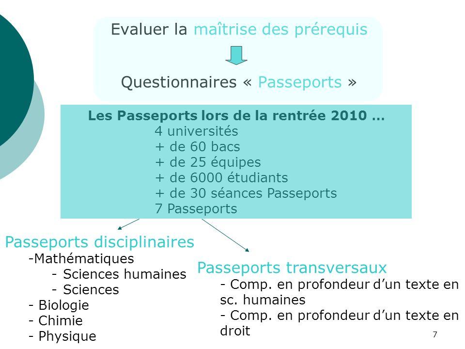 7 Evaluer la maîtrise des prérequis Questionnaires « Passeports » Les Passeports lors de la rentrée 2010 … 4 universités + de 60 bacs + de 25 équipes
