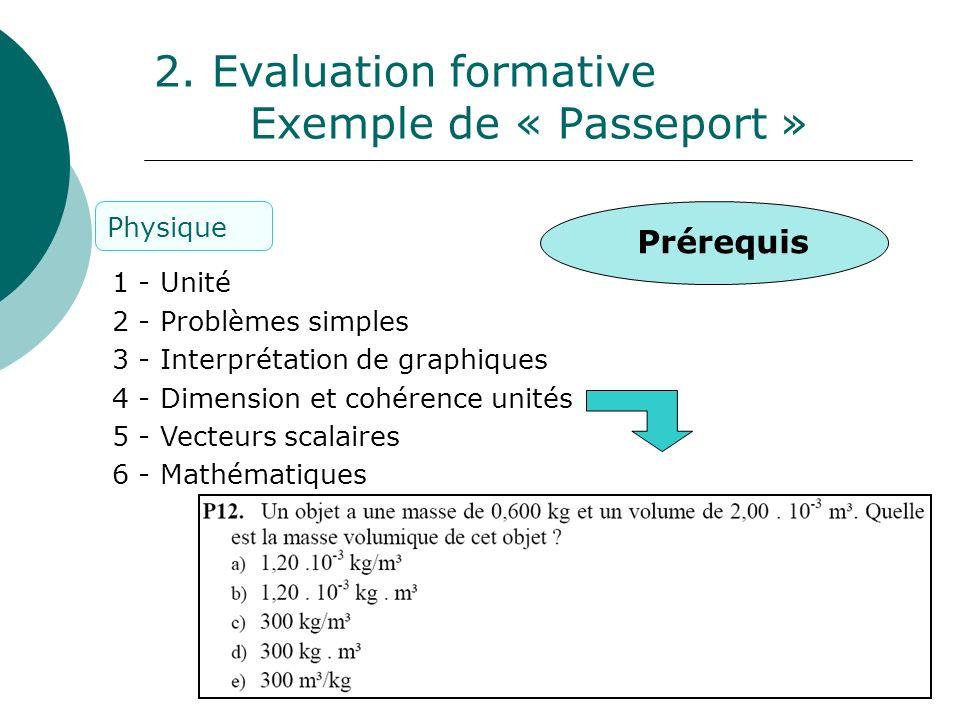 8 2. Evaluation formative Exemple de « Passeport » 1 - Unité 2 - Problèmes simples 3 - Interprétation de graphiques 4 - Dimension et cohérence unités