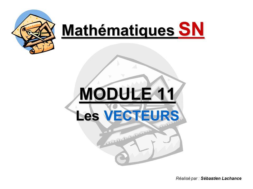 Vecteur AB Notions de vecteur Notions de vecteur Mathématiques SN - Les VECTEURS - A) Définitions Cest une quantité (ou scalaire) ayant : une grandeur (ex.: 4 cm) une grandeur (ex.: 4 cm) une direction (ex.: 32 o ) une direction (ex.: 32 o ) un sens (flèche A vers B) un sens (flèche A vers B) A B 4 cm 32 o