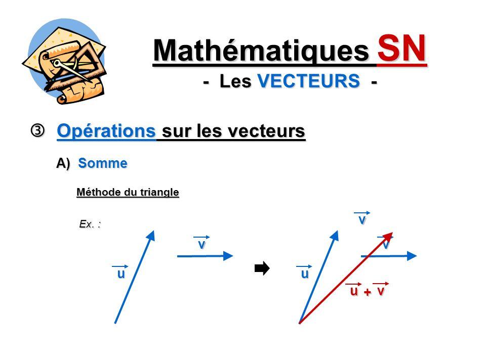 Opérations sur les vecteurs Opérations sur les vecteurs Mathématiques SN - Les VECTEURS - A) Somme Méthode du triangle Ex. : v u v u v v u +