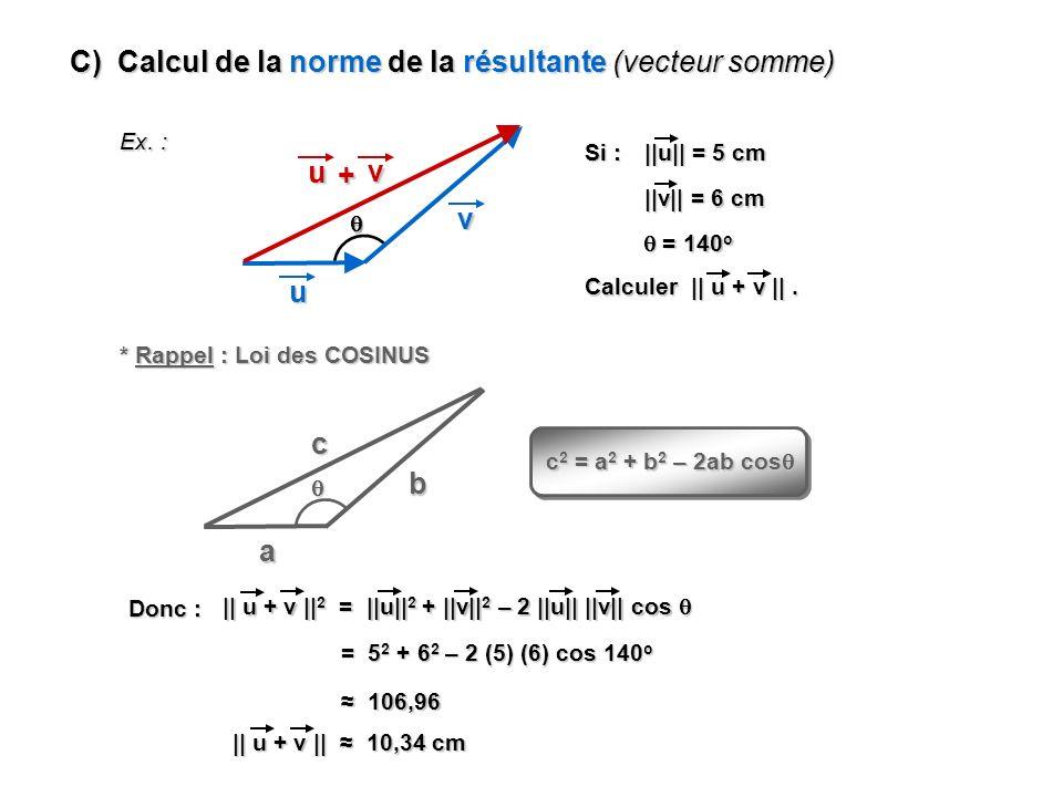 C) Calcul de la norme de la résultante (vecteur somme) Ex. : u v v u + Si : ||u|| = 5 cm ||v|| = 6 cm = 140 o = 140 o Calculer || u + v ||. * Rappel :