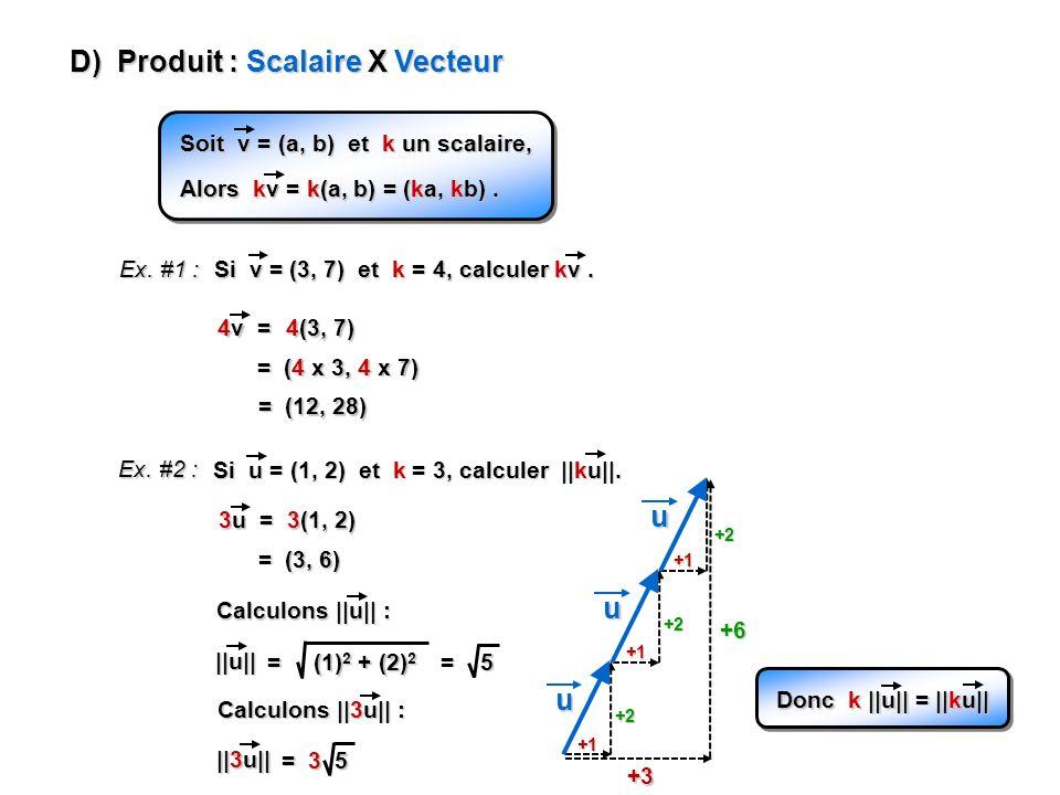 +1 D) Produit : Scalaire X Vecteur Soit v = (a, b) et k un scalaire, Alors kv = k(a, b) = (ka, kb). Ex. #1 : Si v = (3, 7) et k = 4, calculer kv. 4v =