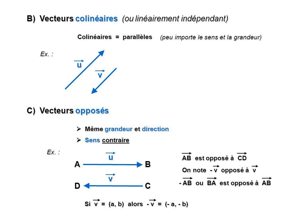 B) Vecteurs colinéaires (ou linéairement indépendant) Colinéaires = parallèles Ex. : u (peu importe le sens et la grandeur) v C) Vecteurs opposés Même