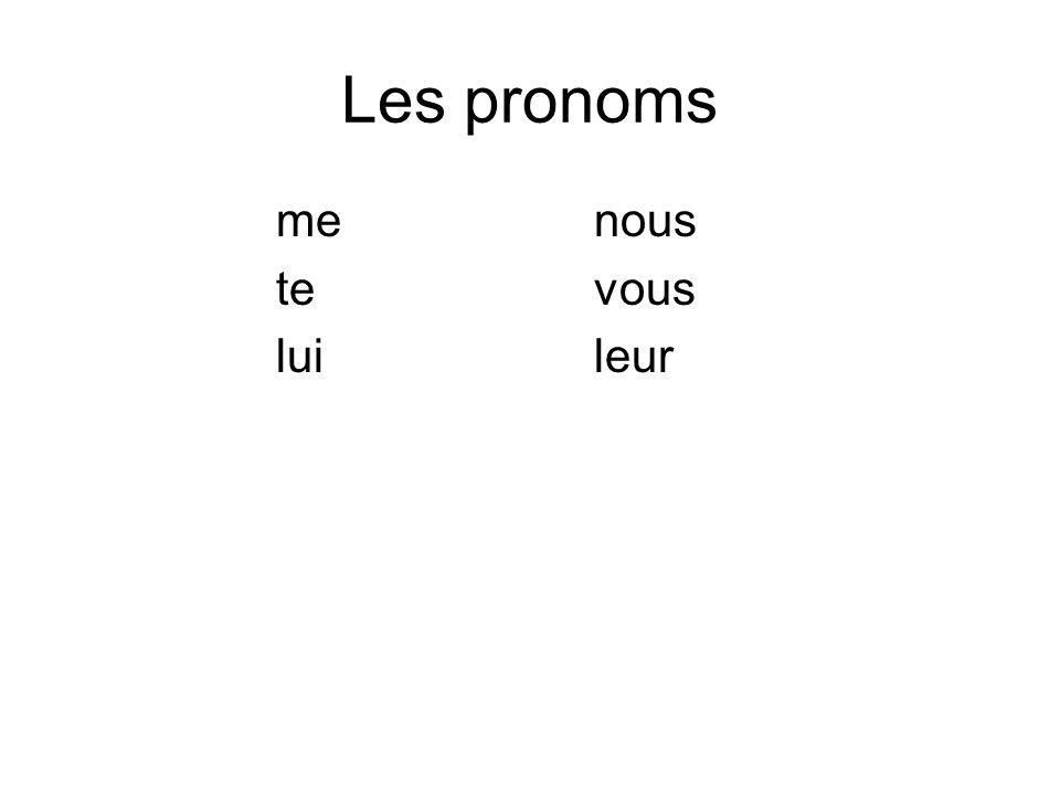 Les pronoms menous tevous luileur