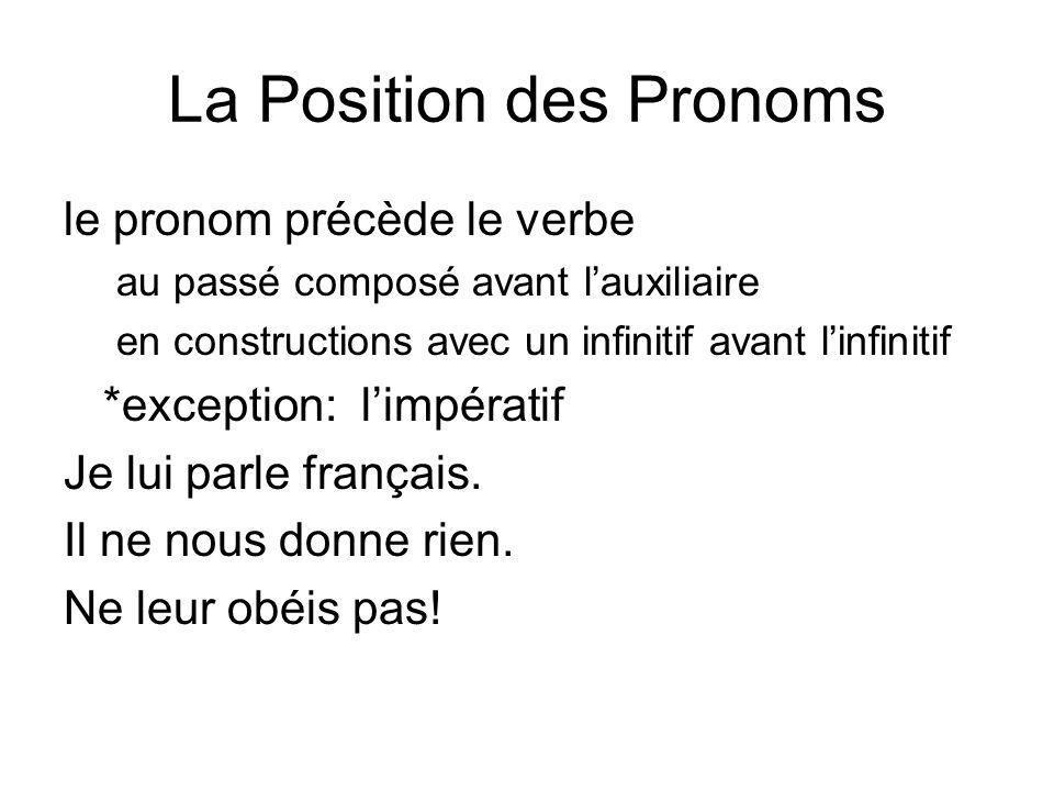 La Position des Pronoms le pronom précède le verbe au passé composé avant lauxiliaire en constructions avec un infinitif avant linfinitif *exception: