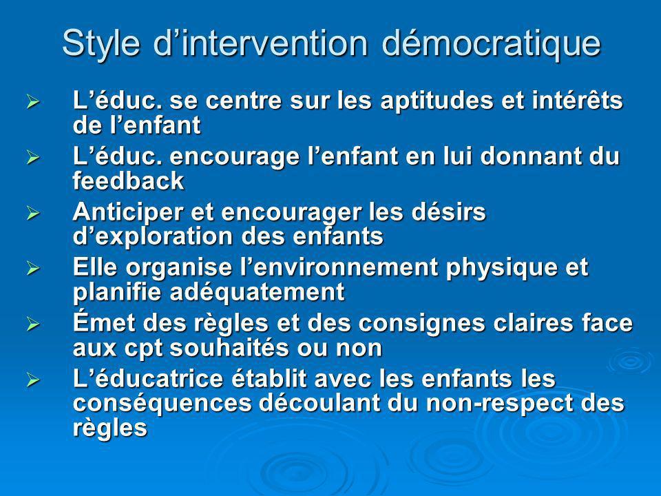 Style dintervention démocratique Léduc. se centre sur les aptitudes et intérêts de lenfant Léduc.