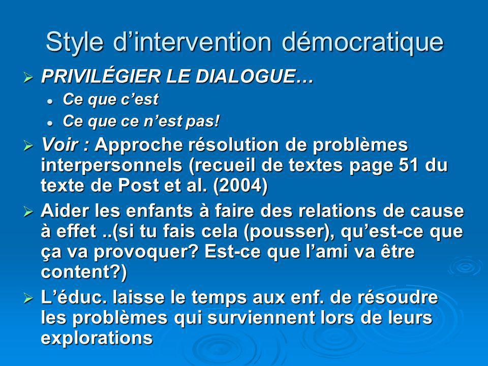 Style dintervention démocratique PRIVILÉGIER LE DIALOGUE… PRIVILÉGIER LE DIALOGUE… Ce que cest Ce que cest Ce que ce nest pas.