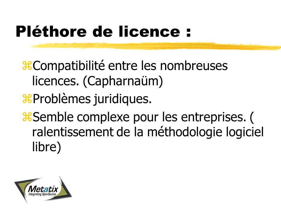Pléthore de licence : zCompatibilité entre les nombreuses licences.