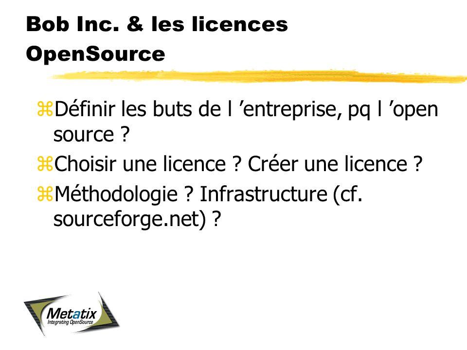 Bob Inc. & les licences OpenSource zDéfinir les buts de l entreprise, pq l open source .
