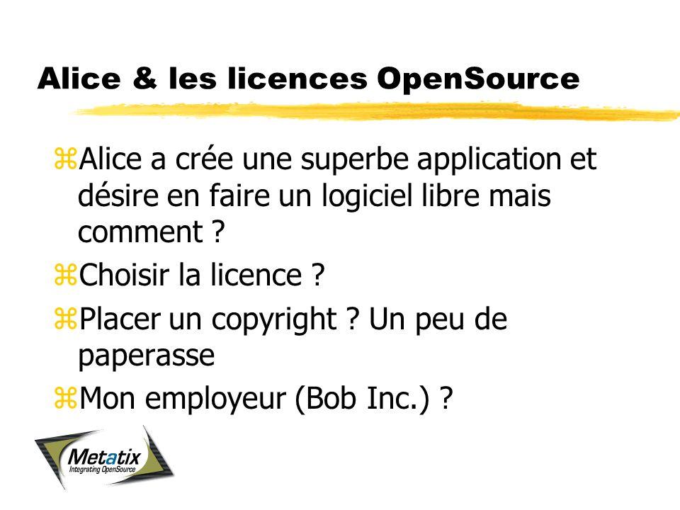 Alice & les licences OpenSource zAlice a crée une superbe application et désire en faire un logiciel libre mais comment .
