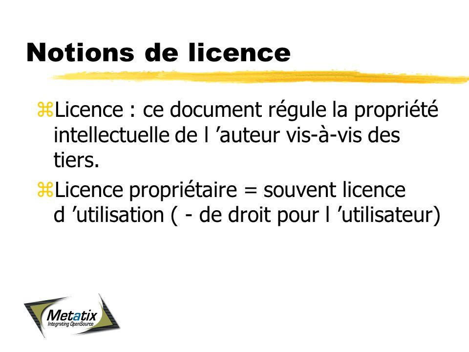 Notions de licence zLicence : ce document régule la propriété intellectuelle de l auteur vis-à-vis des tiers.