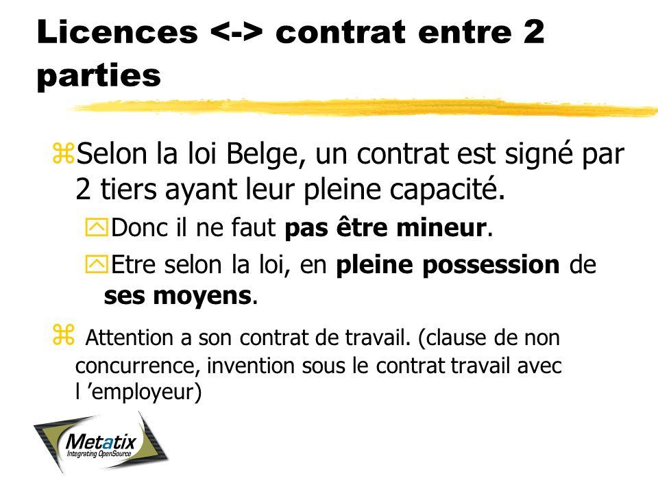 Licences contrat entre 2 parties zSelon la loi Belge, un contrat est signé par 2 tiers ayant leur pleine capacité.