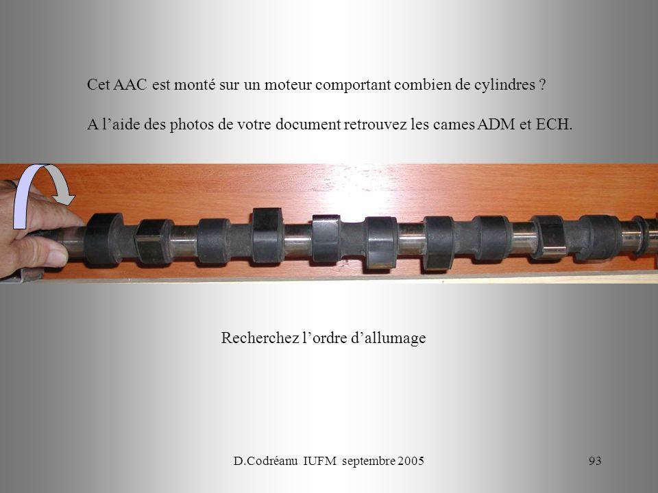 D.Codréanu IUFM septembre 200593 Cet AAC est monté sur un moteur comportant combien de cylindres ? A laide des photos de votre document retrouvez les