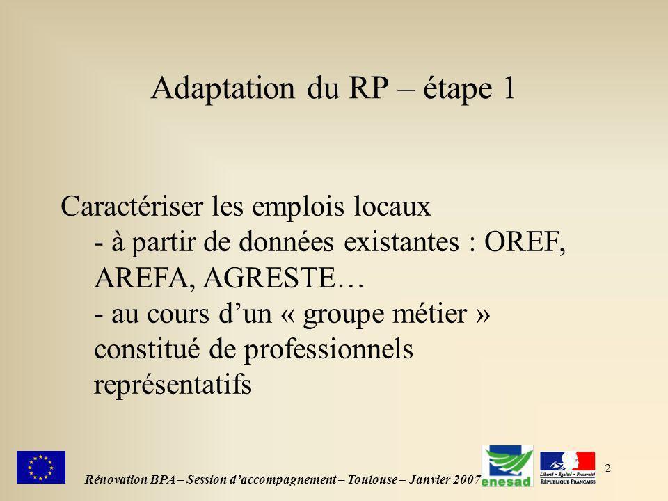2 Adaptation du RP – étape 1 Rénovation BPA – Session daccompagnement – Toulouse – Janvier 2007 Caractériser les emplois locaux - à partir de données existantes : OREF, AREFA, AGRESTE… - au cours dun « groupe métier » constitué de professionnels représentatifs