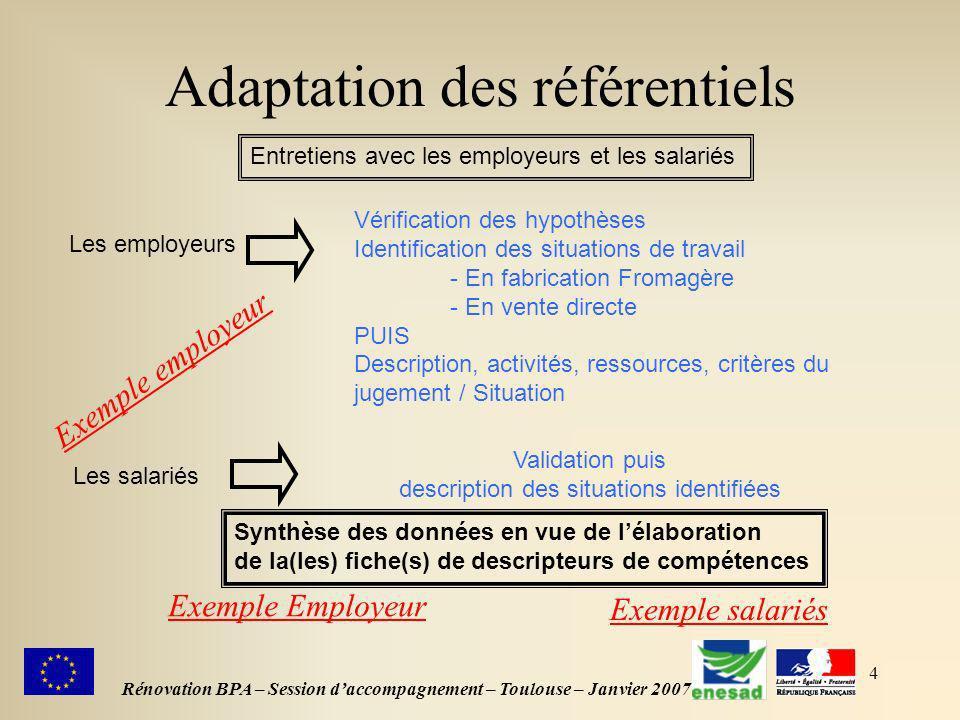 4 Adaptation des référentiels Rénovation BPA – Session daccompagnement – Toulouse – Janvier 2007 Les employeurs Entretiens avec les employeurs et les