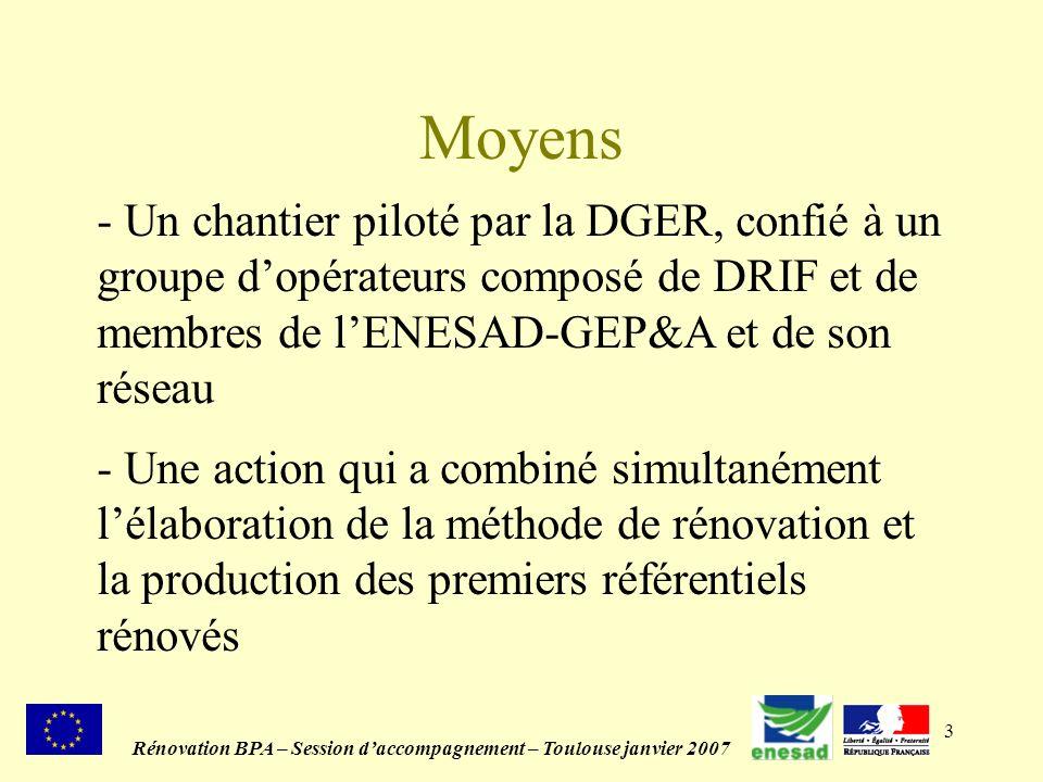 3 Moyens Rénovation BPA – Session daccompagnement – Toulouse janvier 2007 - Un chantier piloté par la DGER, confié à un groupe dopérateurs composé de DRIF et de membres de lENESAD-GEP&A et de son réseau - Une action qui a combiné simultanément lélaboration de la méthode de rénovation et la production des premiers référentiels rénovés