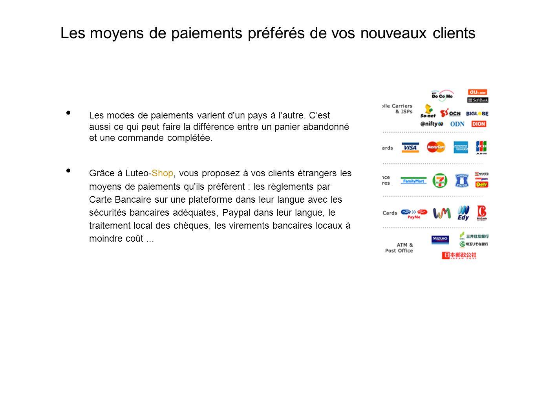 Les moyens de paiements préférés de vos nouveaux clients Les modes de paiements varient d un pays à l autre.