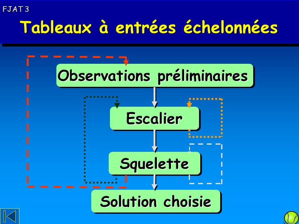 Schéma de principe Observations préliminaires EscalierEscalier SqueletteSquelette Solution choisie FJAT 3 Tableaux à entrées échelonnées Tableaux à entrées échelonnées FJAT 3 Tableaux à entrées échelonnées Tableaux à entrées échelonnées