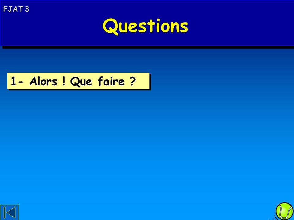 FJAT 3 Questions Questions FJAT 3 Questions Questions 1- Alors ! Que faire ?