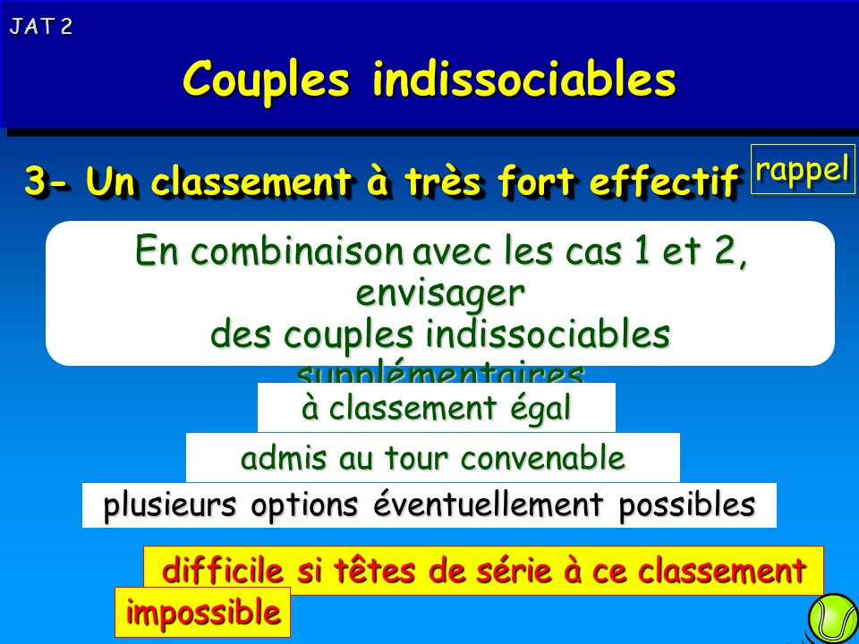 Rappel 3- Un classement à très fort effectif En combinaison avec les cas 1 et 2, envisager des couples indissociables supplémentaires 3 à classement é