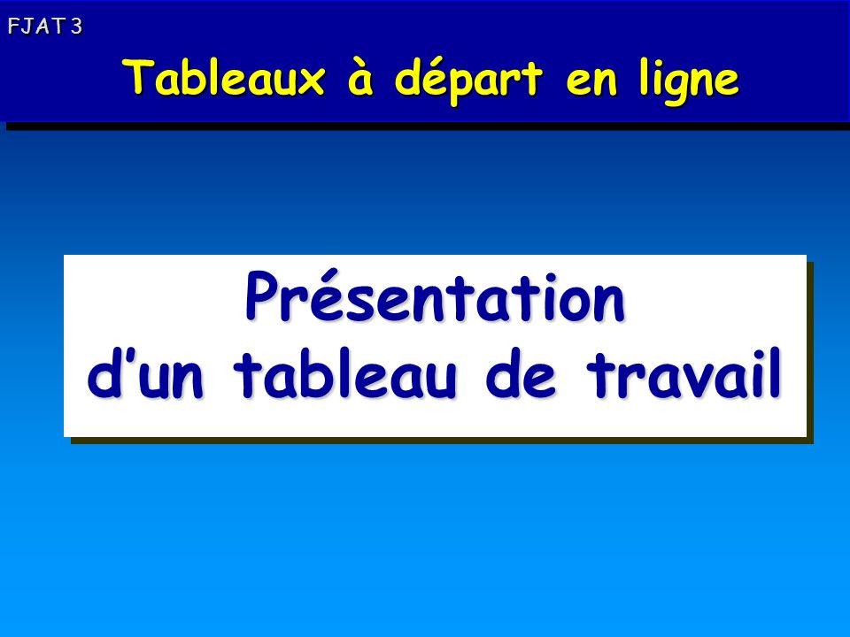 Départ en ligne : présentation dun tableau de travail FJAT 3 Tableaux à départ en ligne Tableaux à départ en ligne FJAT 3 Tableaux à départ en ligne Tableaux à départ en ligne Présentation dun tableau de travail