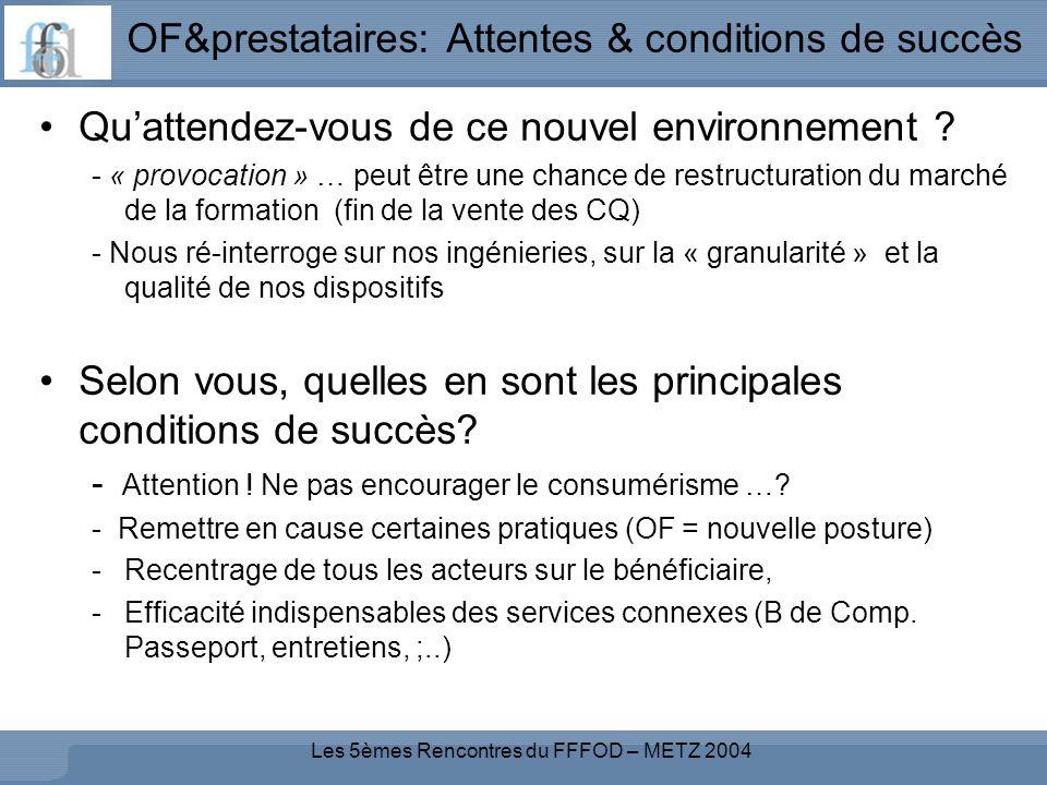Les 5èmes Rencontres du FFFOD – METZ 2004 OF&prestataires: Attentes & conditions de succès Quattendez-vous de ce nouvel environnement .